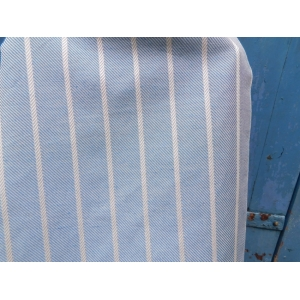 Italian artisan woven half linen half cotton blue large stripes 70 cm width fabric
