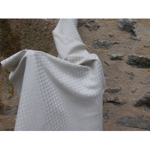 Italian artisan woven half linen half cotton natural shade checked 70 cm width fabric