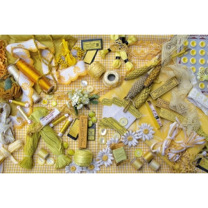 "Antique haberdashery theme created postcard ""Yellow"""
