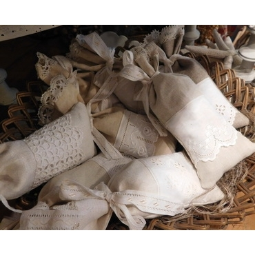 Antique fabrics and lace handmade lavender sachets